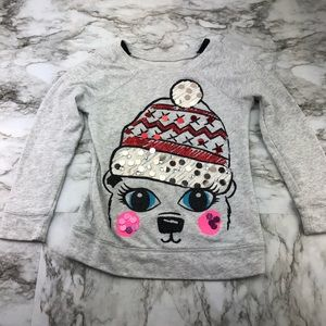 Justice Gray Polar Bear Holiday Sequin Sweater 6